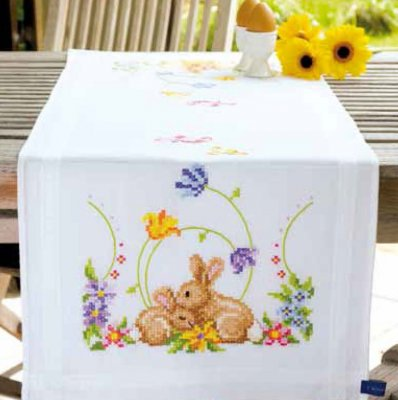 click here to view larger image of Rabbits Printed Table Runner (stamped cross stitch kit)