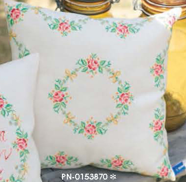 click here to view larger image of Garland and Roses Cushion (counted cross stitch kit)