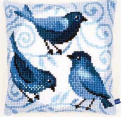 click here to view larger image of Blue Bird Cushion (needlepoint)