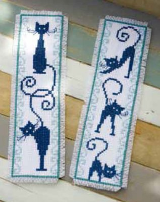 click here to view larger image of Cheerful Cats Bookmarks (package of 2) (counted cross stitch kit)