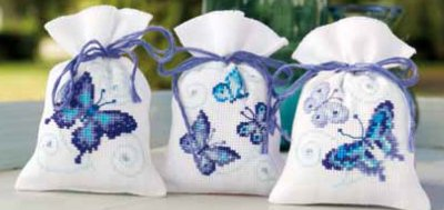 click here to view larger image of Blue Butterflies Potpourri  Bags (Set of 3) (counted cross stitch kit)