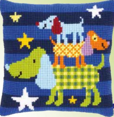 click here to view larger image of Funny Dogs Cushion (needlepoint)