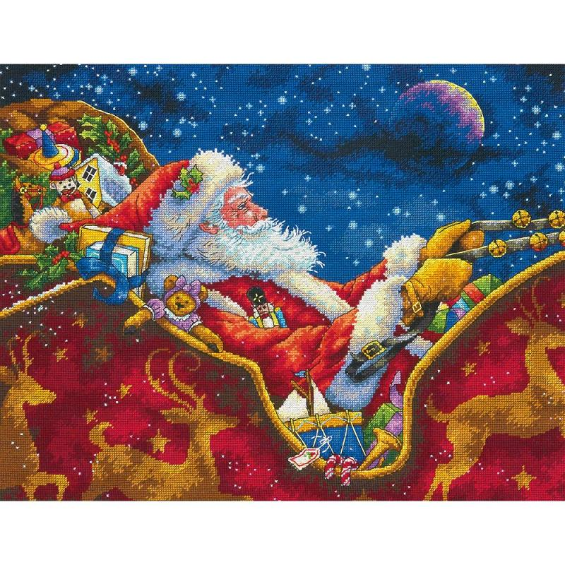 click here to view larger image of Santas Midnight Ride (counted cross stitch kit)