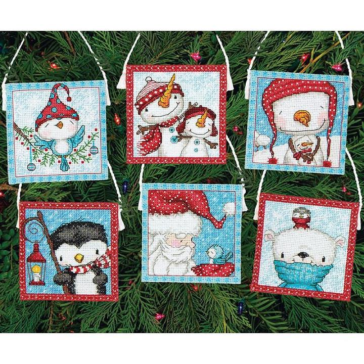 click here to view larger image of Frosty Friends Ornaments (counted cross stitch kit)