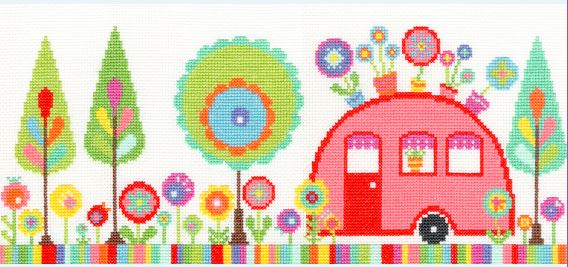click here to view larger image of Funky Caravan (counted cross stitch kit)