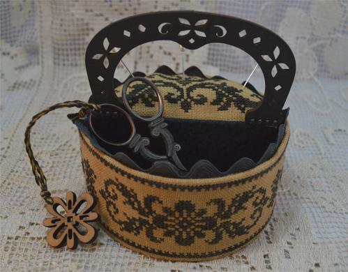 click here to view larger image of Black Flowers Sewing Box (chart)