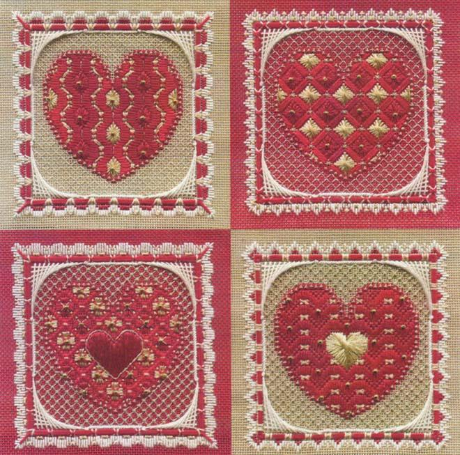 click here to view larger image of Valentine Ornaments (chart with charms/buttons)
