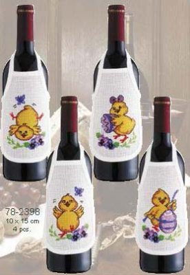 click here to view larger image of Chicks Bottle Aprons - Set of 4 (counted cross stitch kit)