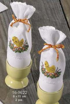 click here to view larger image of Chick Egg Cozy - Set of 2 (counted cross stitch kit)