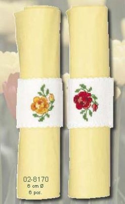 click here to view larger image of Yellow and Red Rose Napkin Bands - Set of Two (counted cross stitch kit)