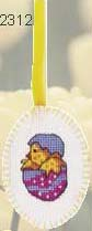 click here to view larger image of  Egg Hat Chick Ornament (counted cross stitch kit)