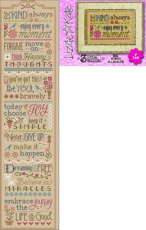 click here to view larger image of 3 Little Words - Be Kind Always F148 (chart with charms/buttons)