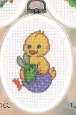 click here to view larger image of Chick and Rabbit in Egg (counted cross stitch kit)