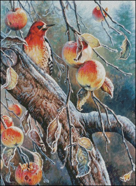 click here to view larger image of Woodpecker With Apples (chart)