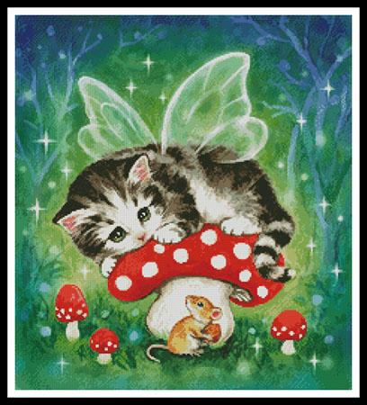click here to view larger image of Kitten Fairy on Mushroom (chart)