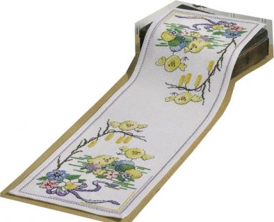 click here to view larger image of Easter Chick Table Runner (counted cross stitch kit)