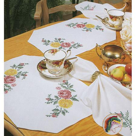 click here to view larger image of Tobin Rose Classic Napkins (stamped cross stitch kit)