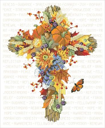 click here to view larger image of Fall Floral Cross (chart)