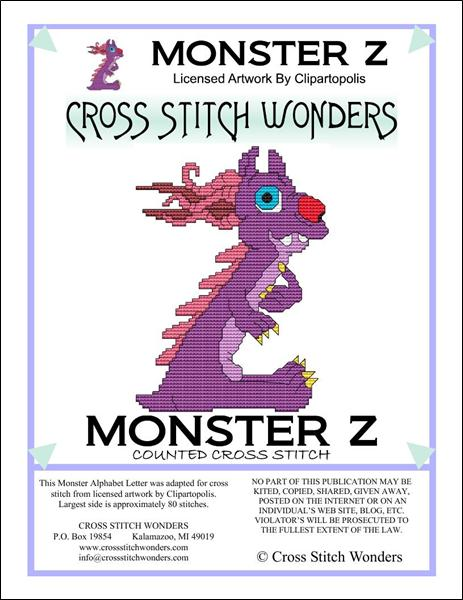 click here to view larger image of Monster Letter Z (chart)
