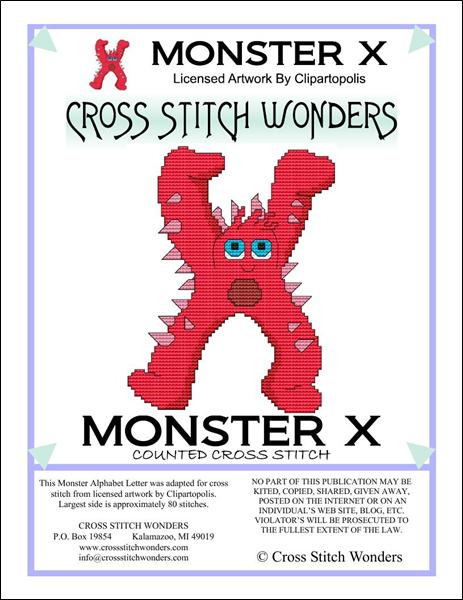 click here to view larger image of Monster Letter X (chart)
