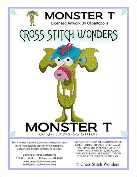 click here to view larger image of Monster Letter T (chart)