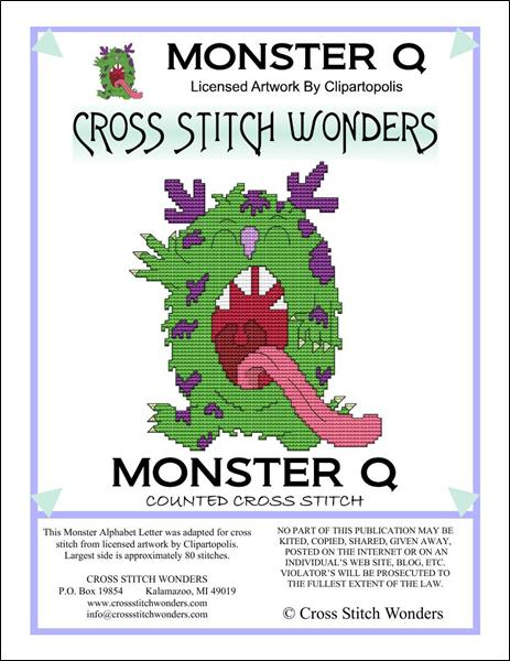 click here to view larger image of Monster Letter Q (chart)