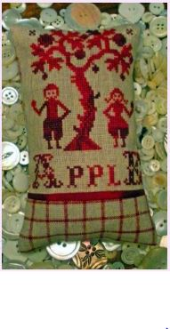 click here to view larger image of Adam and Eve and an Apple (counted cross stitch kit)