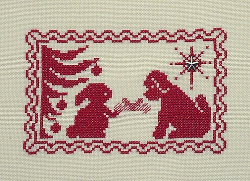 click here to view larger image of Christmas Silhouette - Bunny Gives Puppy a Gift (chart with charms/buttons)
