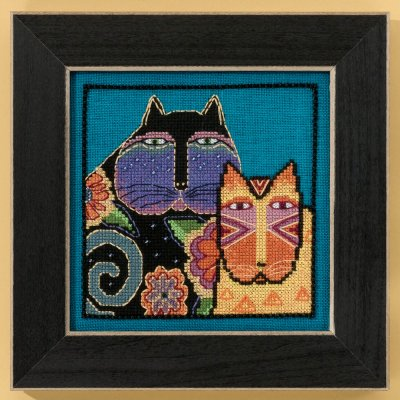 click here to view larger image of Feline Friends - Cats Collection (linen) (counted cross stitch kit)