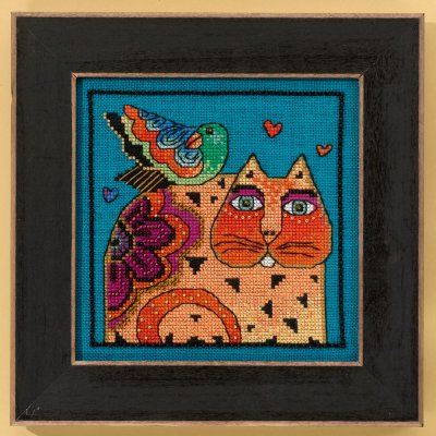 click here to view larger image of Feathered Friend - Cats Collection (Linen) (counted cross stitch kit)