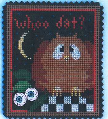click here to view larger image of February Ornament - Whoo Dat (chart with charms/buttons)