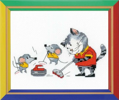 click here to view larger image of Curling - Happy Bee (counted cross stitch kit)