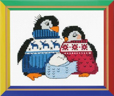 click here to view larger image of Friendly Family of Penguins  - Happy Bee (counted cross stitch kit)