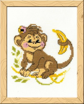 click here to view larger image of Monkey - Happy Bee (counted cross stitch kit)