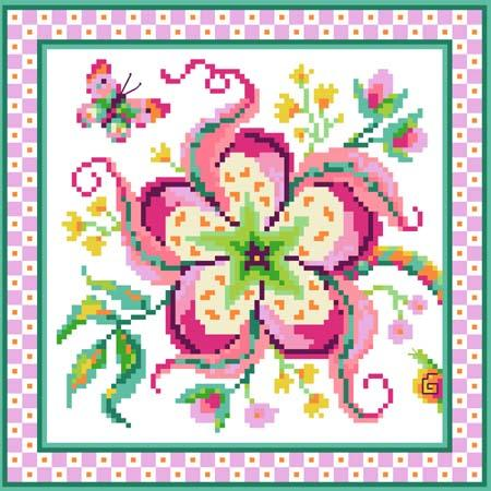 click here to view larger image of Jacobean Flower No 1 Pink (chart)
