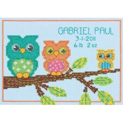 click here to view larger image of Owl Birth Record (counted cross stitch kit)