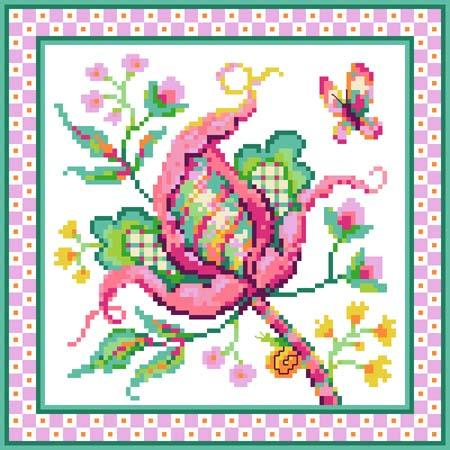 click here to view larger image of Jacobean Flower No 2 Pink (chart)