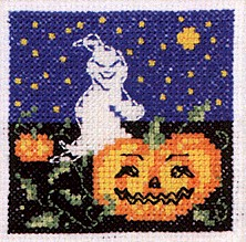 click here to view larger image of Ghost By Pumpkin (counted cross stitch kit)