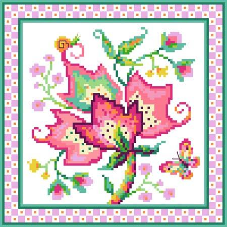 click here to view larger image of Jacobean Flower No 3 Pink (chart)