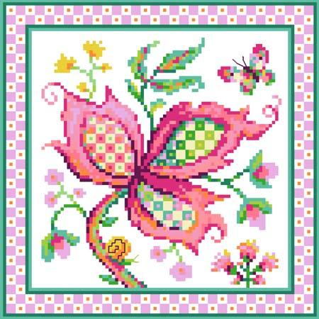 Jacobean Flower No 4 Pink - click here for more details about chart