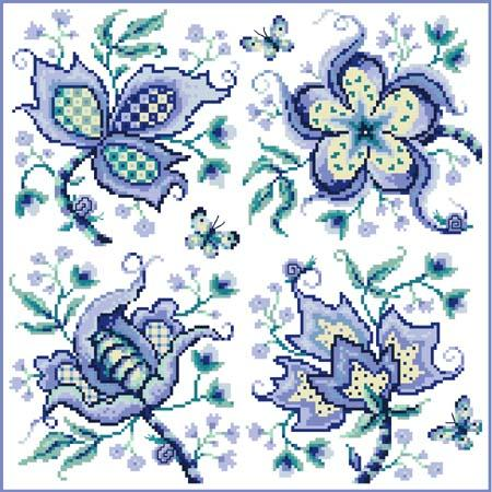 click here to view larger image of Jacobean Blue Quartet (chart)