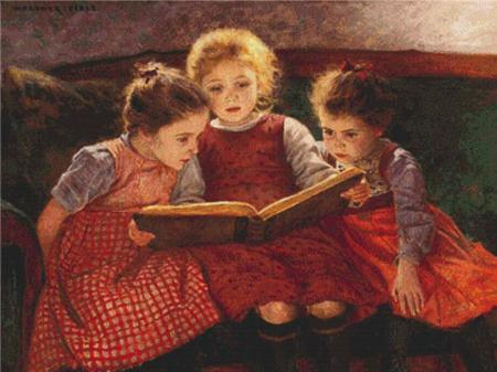 click here to view larger image of Three Reading Girls  (Walther Firle) (chart)