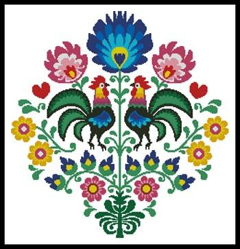 click here to view larger image of Polish Folk Design with Roosters (chart)