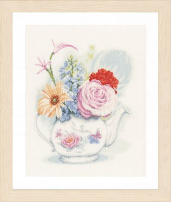 click here to view larger image of Flowers In A Teapot (counted cross stitch kit)