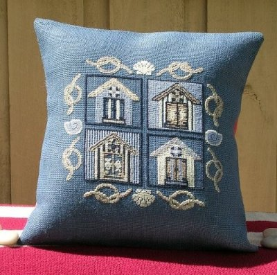 click here to view larger image of Beach House - Pillow Front (stamped cross stitch kit)