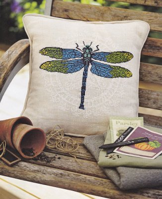 click here to view larger image of Dragonfly - Pillow Front (counted cross stitch kit)