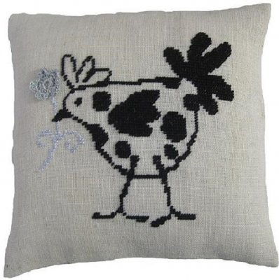 click here to view larger image of Frech Hen - Sewn Pillow Cover (counted cross stitch kit)