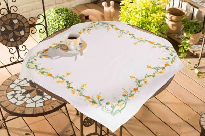 click here to view larger image of Buttercup Border - Embroidery Tablecloth (stamped cross stitch kit)