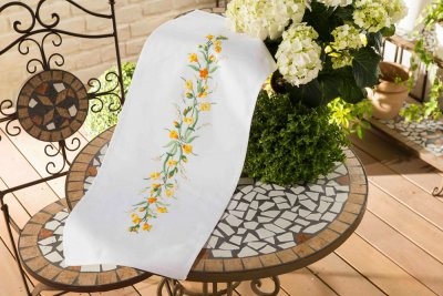 click here to view larger image of Buttercup Board - Embroidery Table Runner (stamped cross stitch kit)