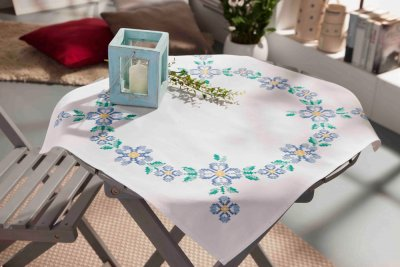 click here to view larger image of Blue Summer - Tablecloth (stamped cross stitch kit)